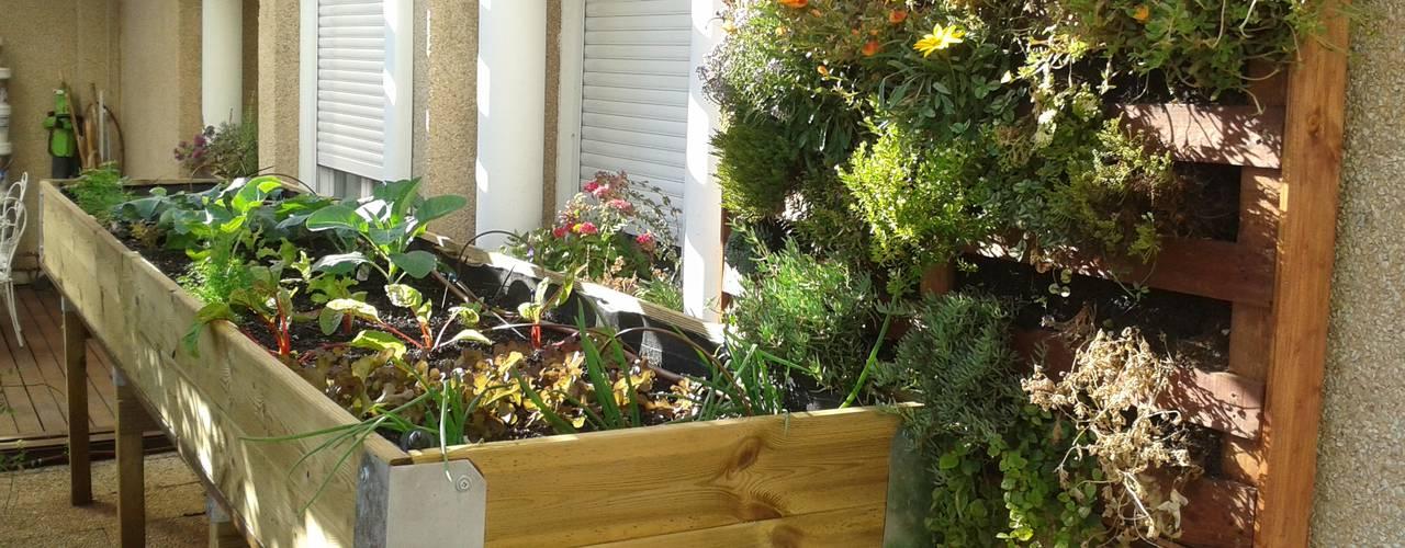 Balcones y terrazas rústicos de Agrópolis Jardín Rústico