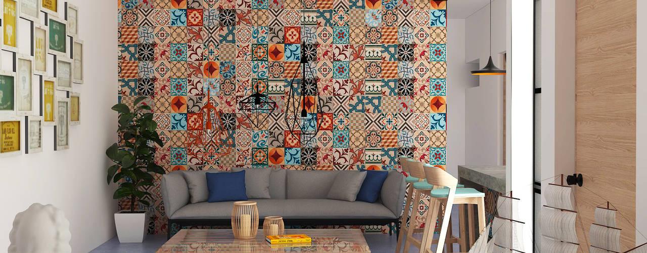 Salas / recibidores de estilo  por Hipercubo Arquitectura, Colonial