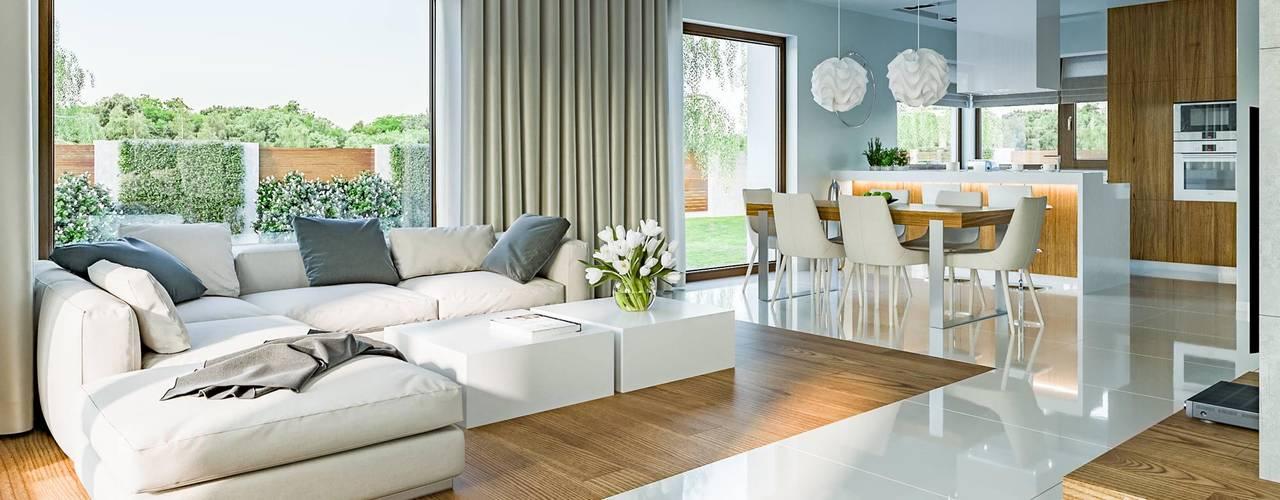 Salon de style  par HomeKONCEPT | Projekty Domów Nowoczesnych