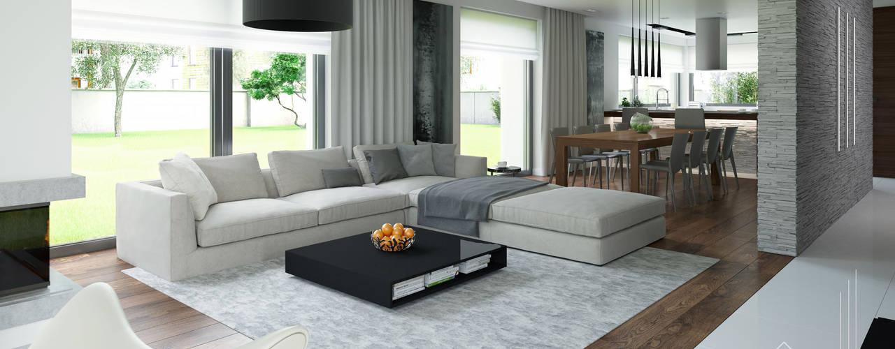Projekt domu HomeKONCEPT-01: styl , w kategorii Salon zaprojektowany przez HomeKONCEPT | Projekty Domów Nowoczesnych