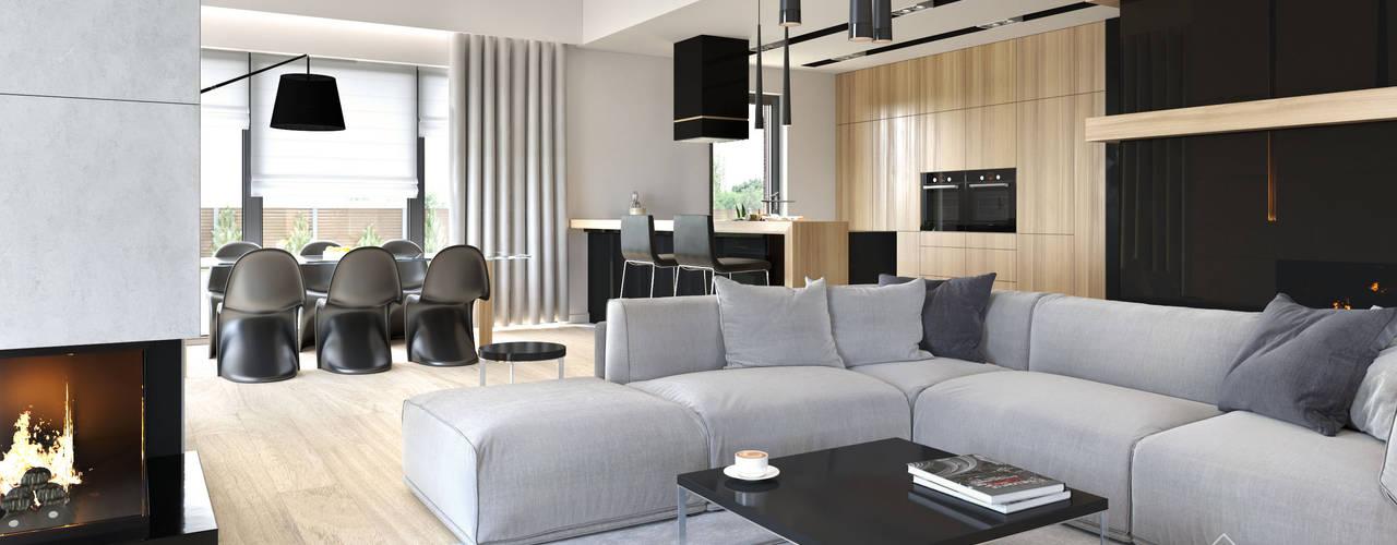 Projekt domu HomeKONCEPT-27- projekty domów z wnętrzami: styl , w kategorii Salon zaprojektowany przez HomeKONCEPT | Projekty Domów Nowoczesnych