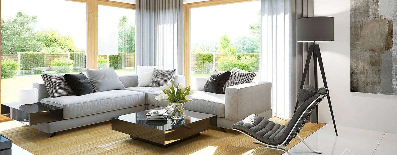 Moderne woonkamers van HomeKONCEPT | Projekty Domów Nowoczesnych Modern