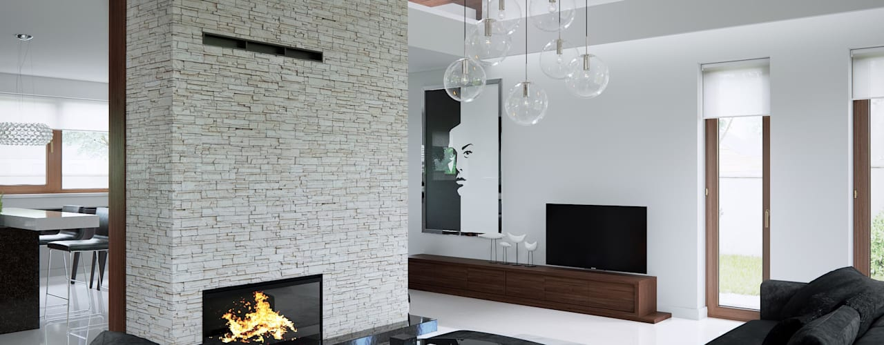 Salas / recibidores de estilo  por HomeKONCEPT | Projekty Domów Nowoczesnych