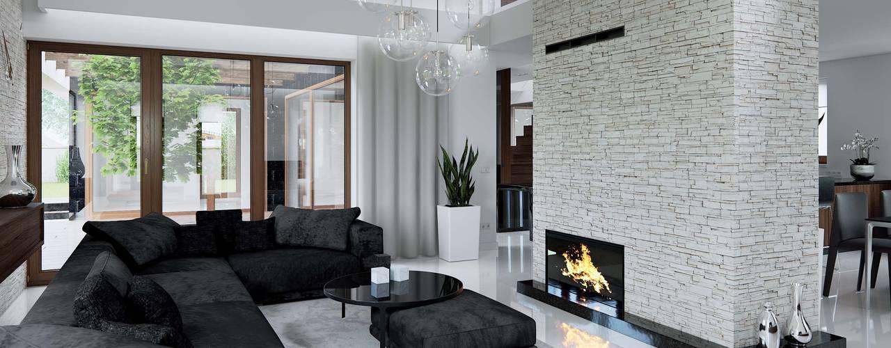 Salones de estilo  de HomeKONCEPT | Projekty Domów Nowoczesnych