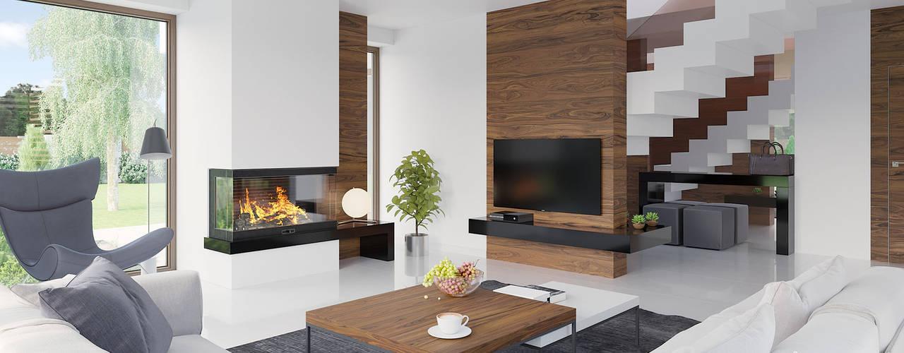 Salas de estar modernas por HomeKONCEPT | Projekty Domów Nowoczesnych Moderno