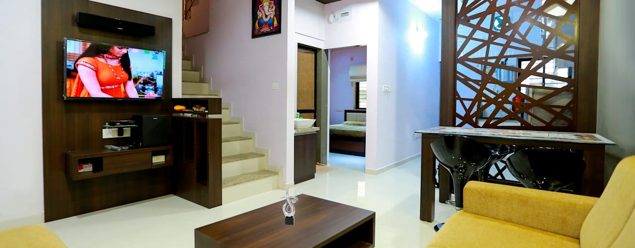 3 BHK Duplex Modern living room by ZEAL Arch Designs Modern