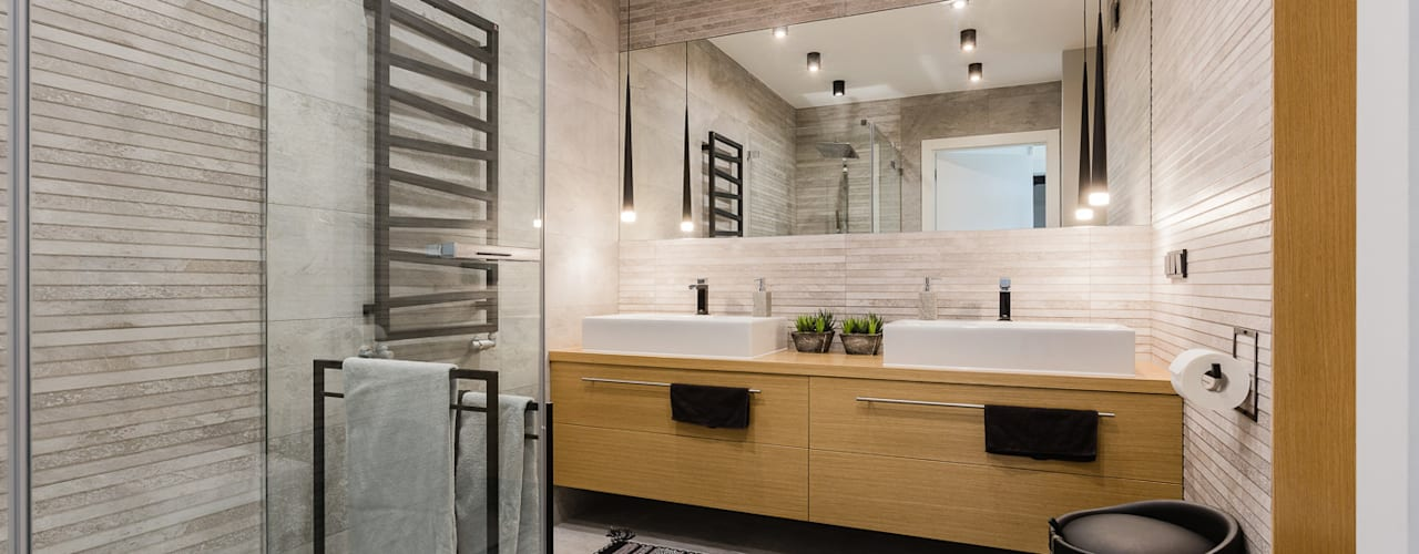 ZAWICKA-ID Projektowanie wnętrz Scandinavian style bathroom Wood Grey