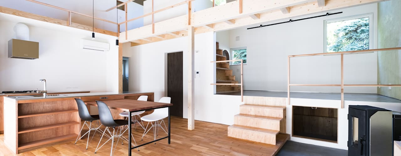 一級建築士事務所 Atelier Casa Dinding & Lantai Gaya Eklektik Parket Brown