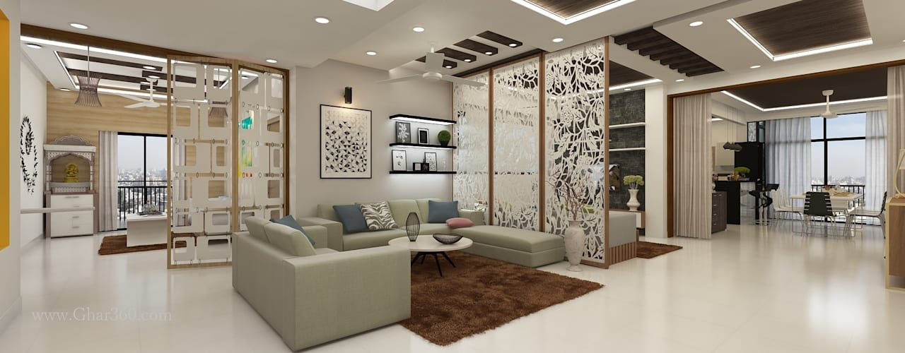 Drawing Room- Partition :   by Ghar360