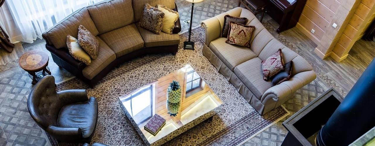 Дом из клееного бруса GOOD WOOD, 783 кв.м.: Гостиная в . Автор – GOOD WOOD, Классический