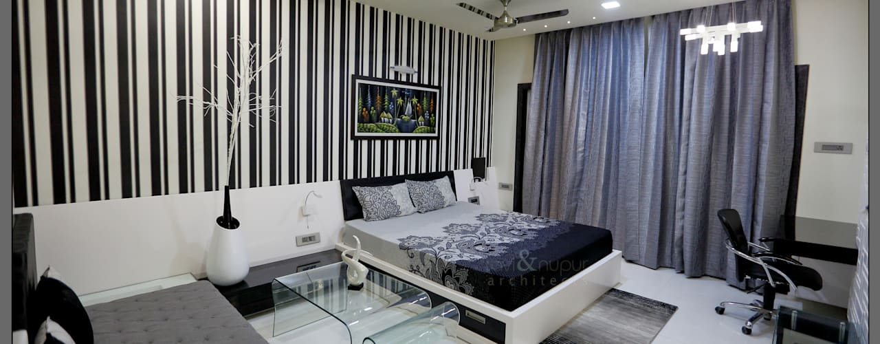 Three Storey Grand Residence @Paota,Jodhpur Modern style bedroom by RAVI - NUPUR ARCHITECTS Modern