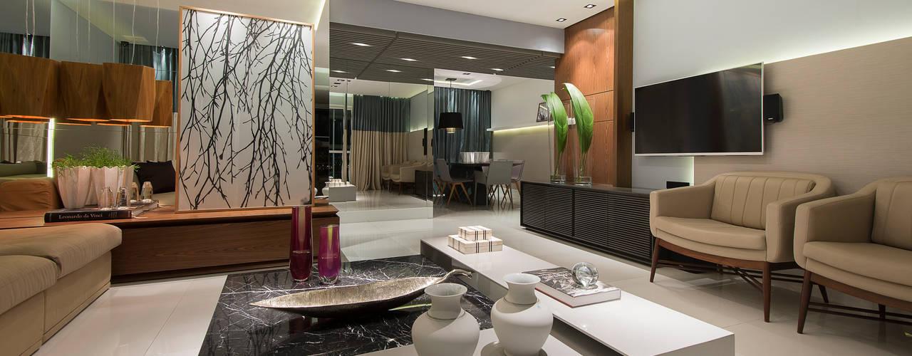 APTO. E & A Salas de estar modernas por Matheus Menezes Arquiteto Moderno
