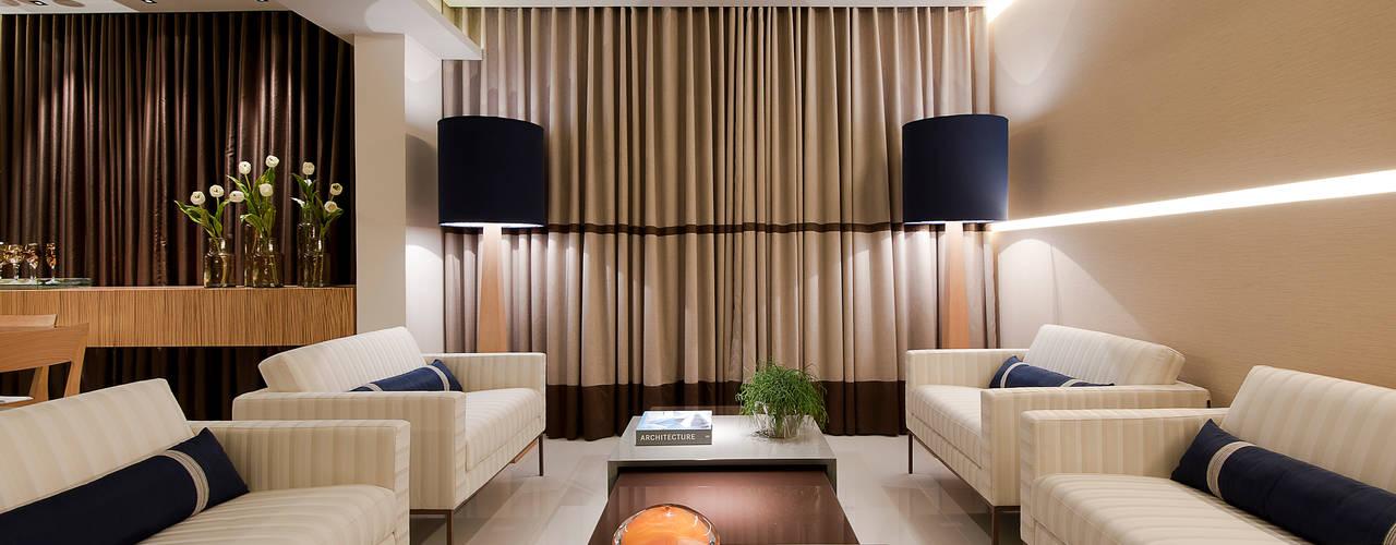 APTO. M & S: Salas de estar  por Matheus Menezes Arquiteto