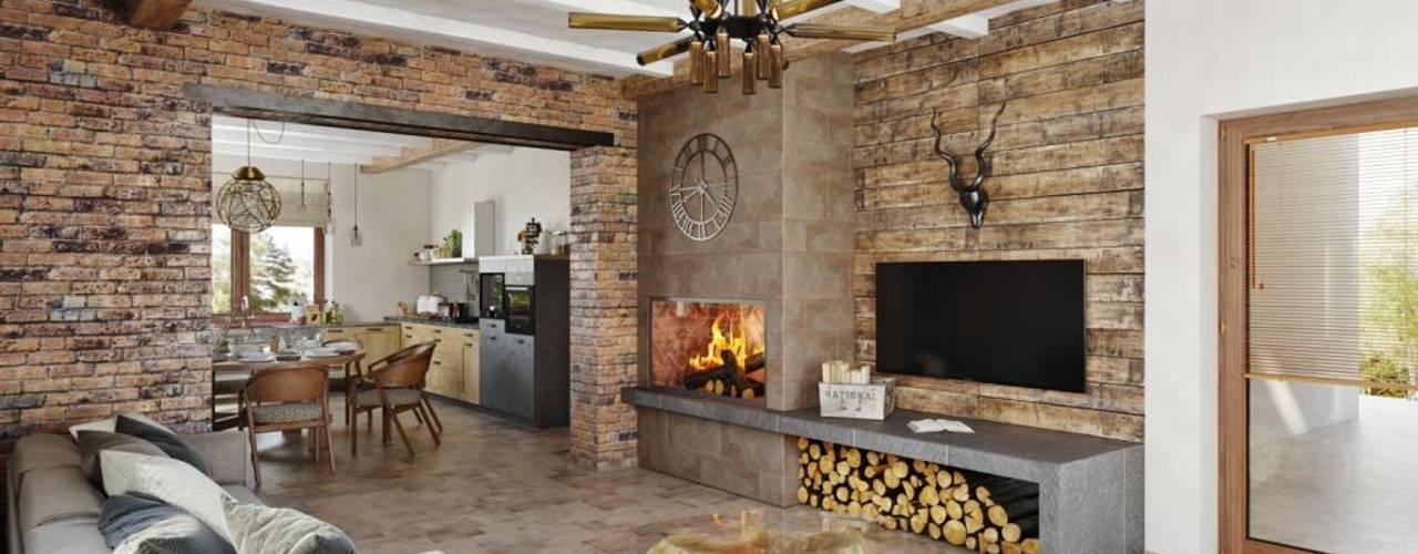 Камин и телевизор: Гостиная в . Автор – Дизайн студия Алёны Чекалиной