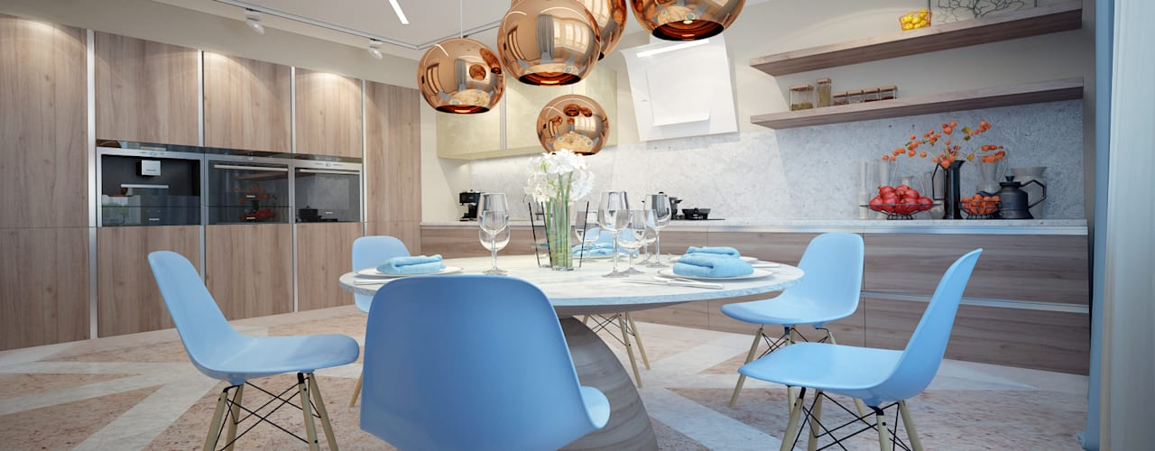 large apartment in a modern style in Moscow:  Kitchen by design studio by Mariya Rubleva