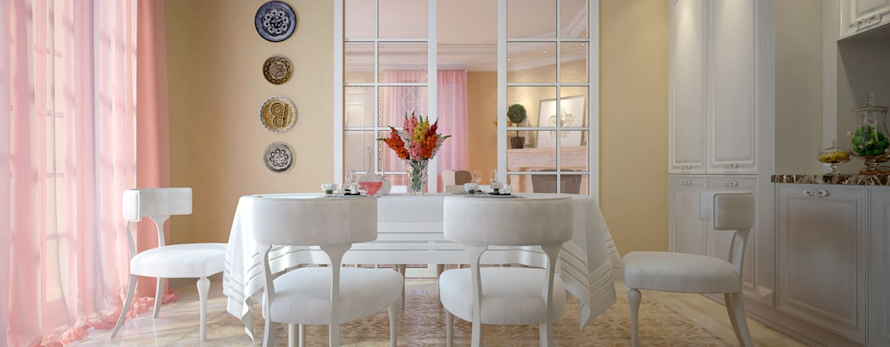 large apartment in classic style in Moscow:  Dining room by design studio by Mariya Rubleva