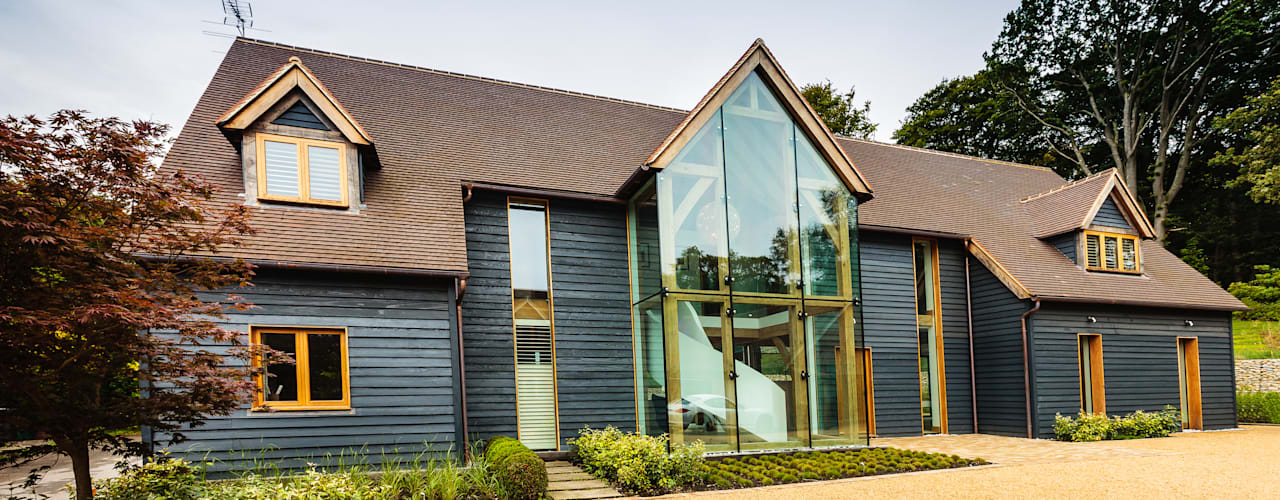 Double Height Structural Glass Atrium and Rear Extension Trombe Ltd Modern Living Room