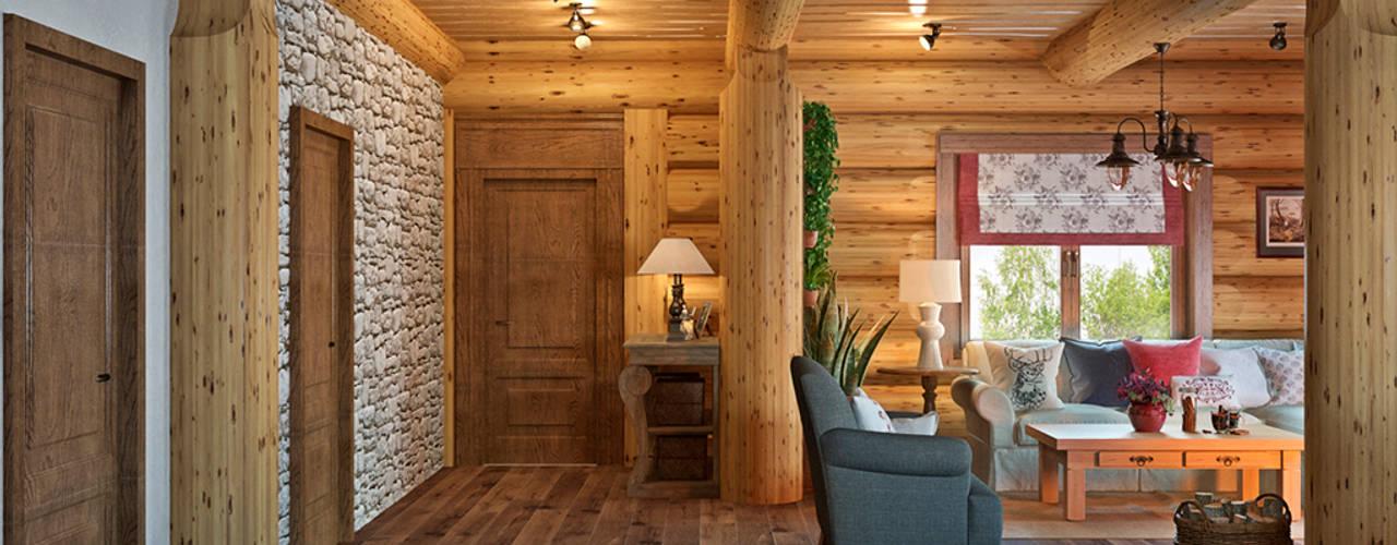 鄉村風格的走廊,走廊和樓梯 根據 rudakova.ru 田園風
