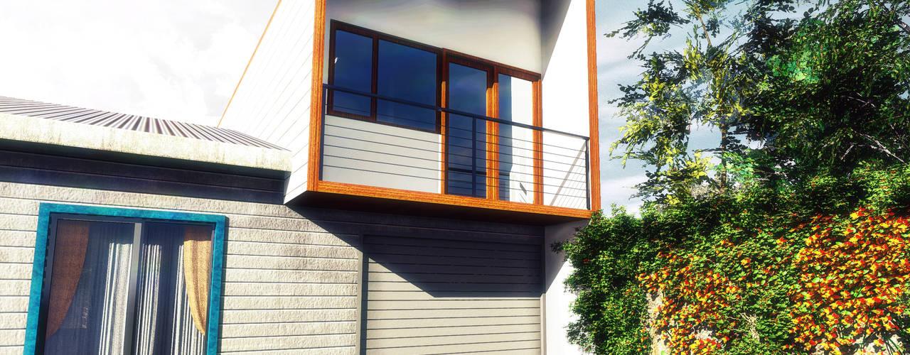 Diseño de Casa NH por NidoSur Arquitectos: Casas unifamiliares de estilo  por NidoSur Arquitectos - Valdivia, Moderno