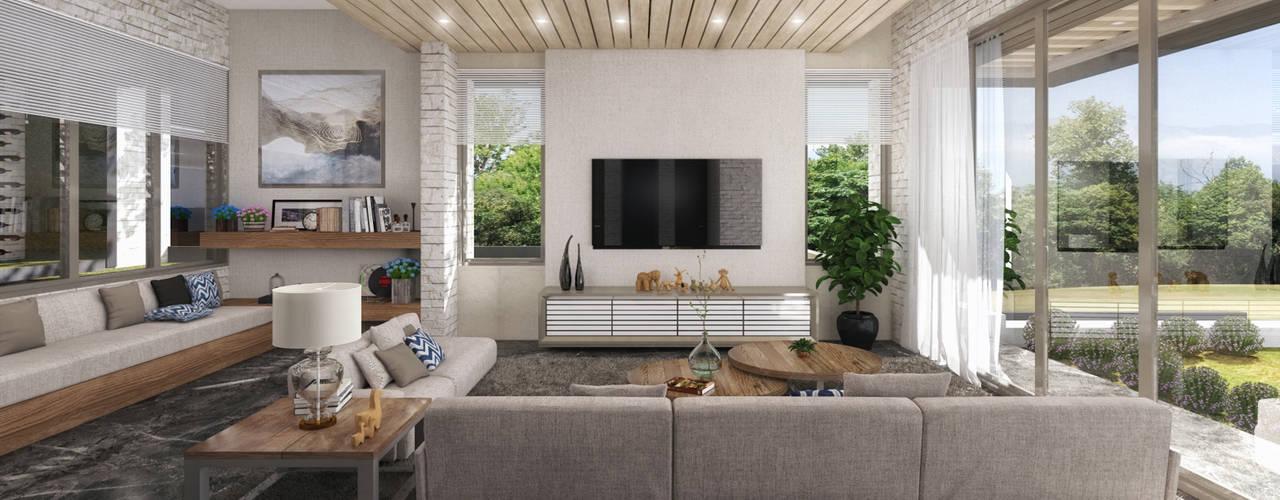 غرفة المعيشة تنفيذ TREVINO.CHABRAND | Architectural Studio, تبسيطي