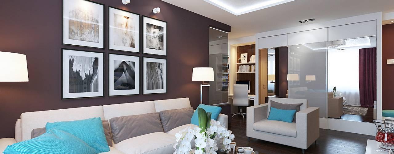 Дизайн-проект трехкомнатной квартиры 80 кв м в панельном доме: Гостиная в . Автор – Студия интерьера Дениса Серова