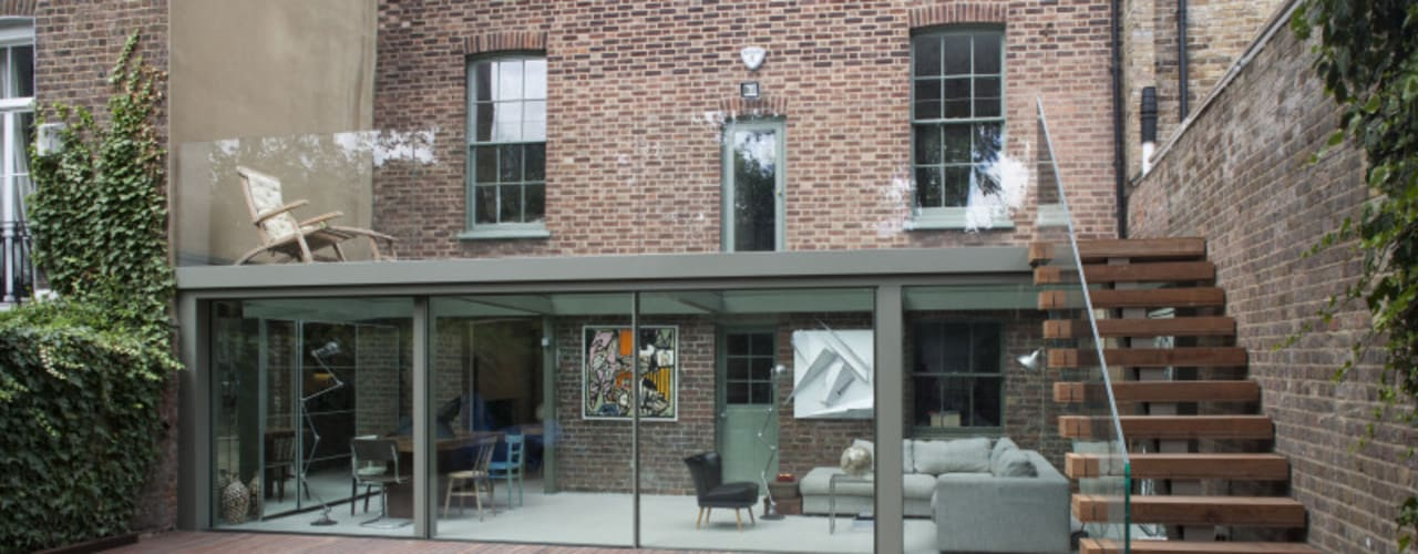 Walk On Roof Glass Extension Modern living room by Trombe Ltd Modern