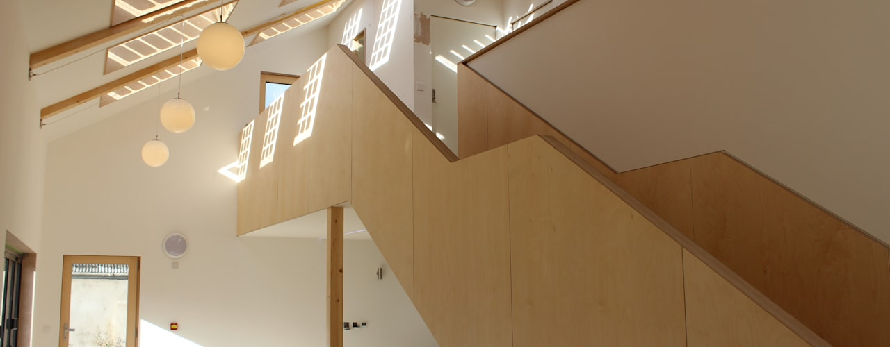 Solarsense Zero Carbon Home Modern corridor, hallway & stairs by Askew Cavanna Architects Modern