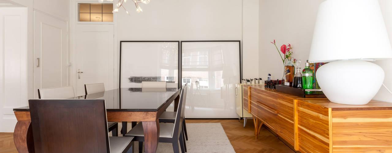 Appartement Amsterdam Oud-Zuid:  Eetkamer door Aangenaam Interieuradvies, Modern
