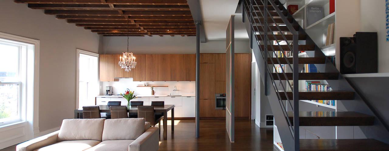Clinton Avenue:  Living room by SA-DA Architecture