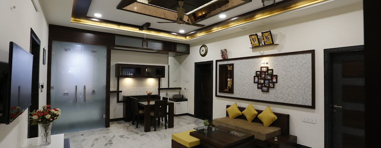Modern Residence:  Dining room by RAVI - NUPUR ARCHITECTS