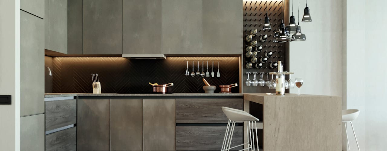 TK apartment Modern Kitchen by Polygon arch&des Modern