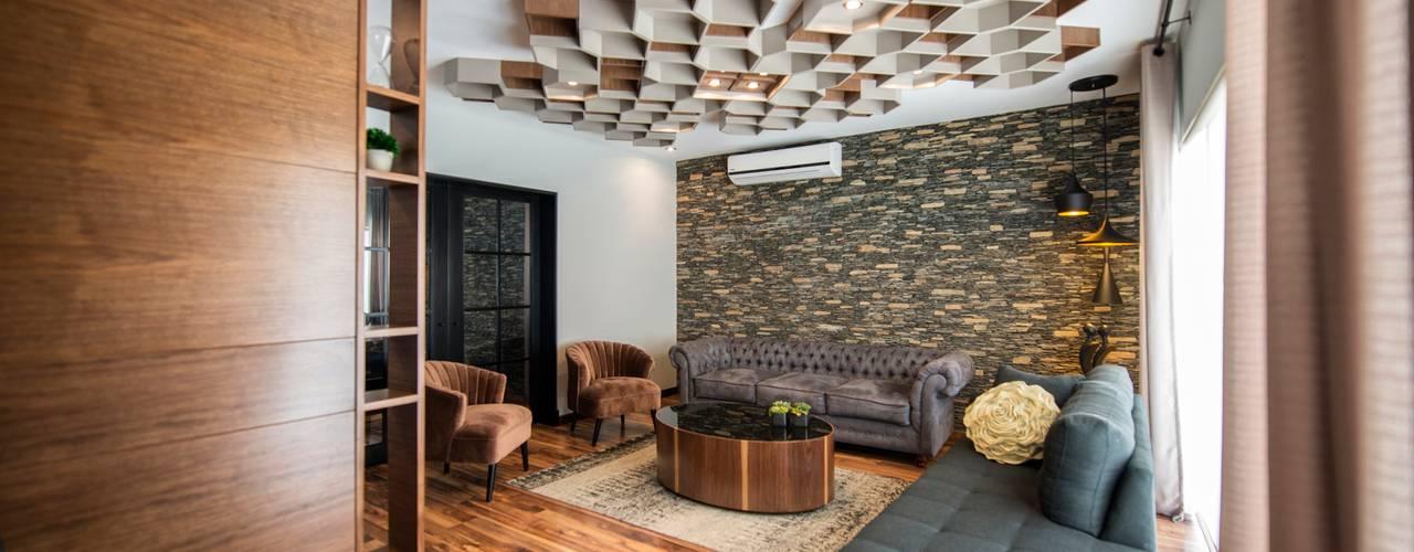Salas / recibidores de estilo industrial por ESTUDIO TANGUMA