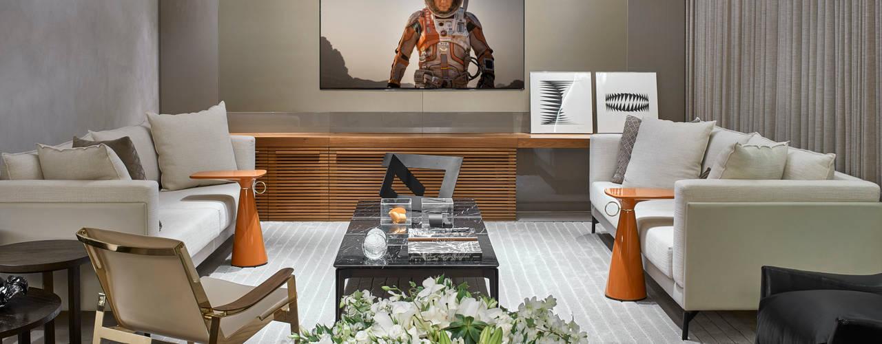 Projekty,  Pokój multimedialny zaprojektowane przez Alessandra Contigli Arquitetura e Interiores