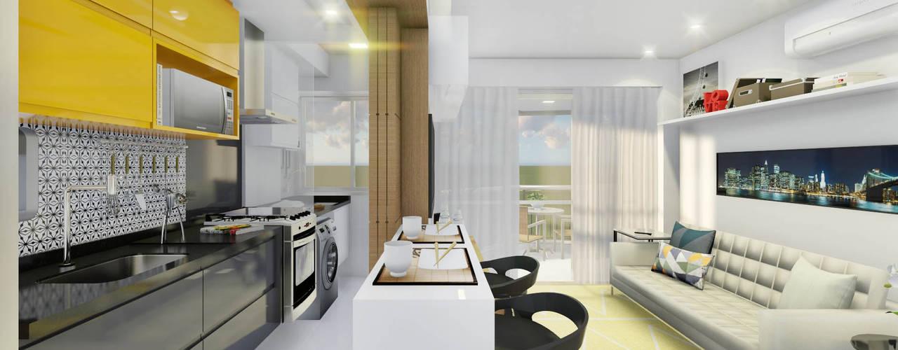 غرفة المعيشة تنفيذ JS Interiores, حداثي
