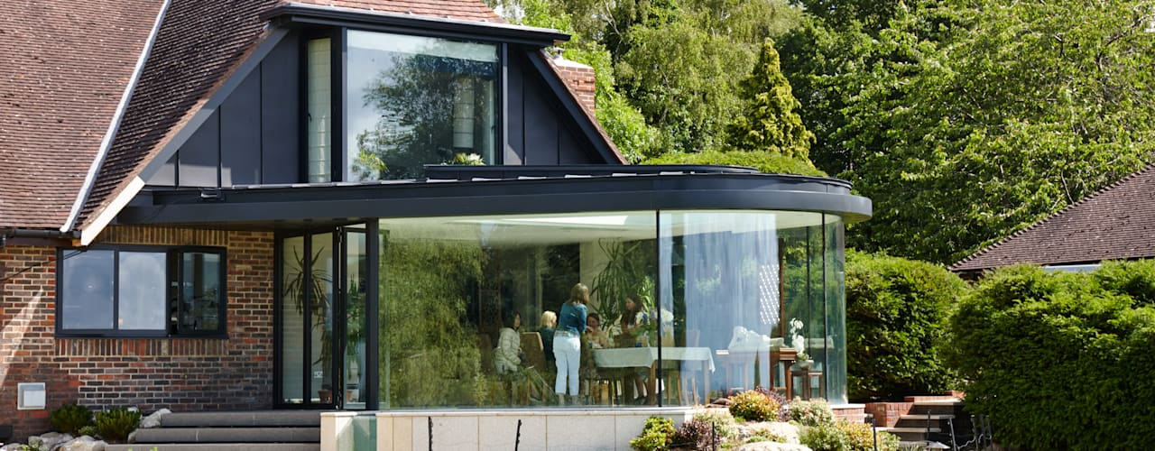 Curved Glass Extension Trombe Ltd Modern Dining Room
