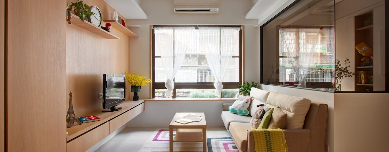 ห้องนั่งเล่น โดย 一葉藍朵設計家飾所 A Lentil Design ,