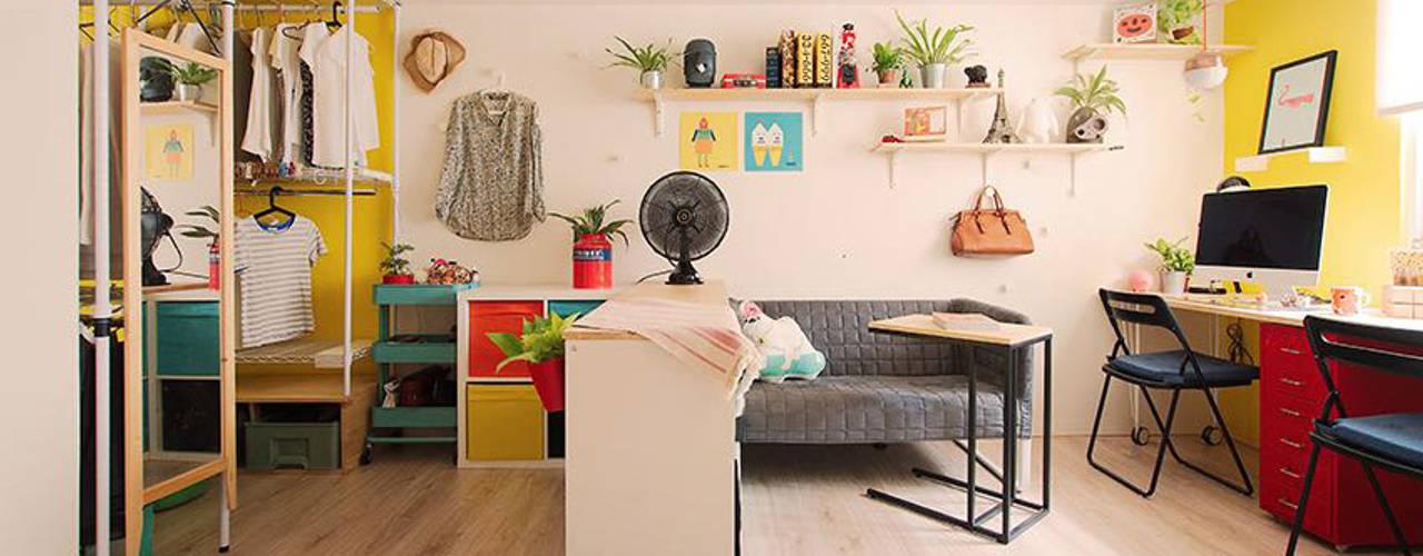 【地下天光】打造年輕夫妻的10坪溫暖寓所   Bright Basement:  客廳 by 一葉藍朵設計家飾所 A Lentil Design