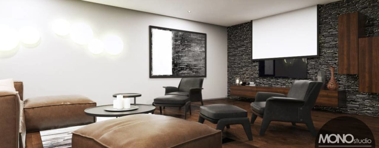 Nowoczesne i stylowe wnętrze idealne do spędzania wolnego czasu Nowoczesny pokój multimedialny od MONOstudio Nowoczesny
