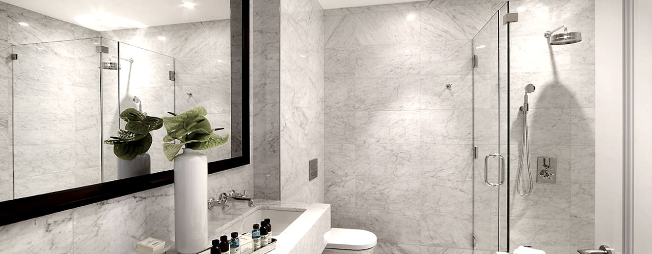 Penthouses and Guestrooms:  Bathroom by Joe Ginsberg Design, Modern