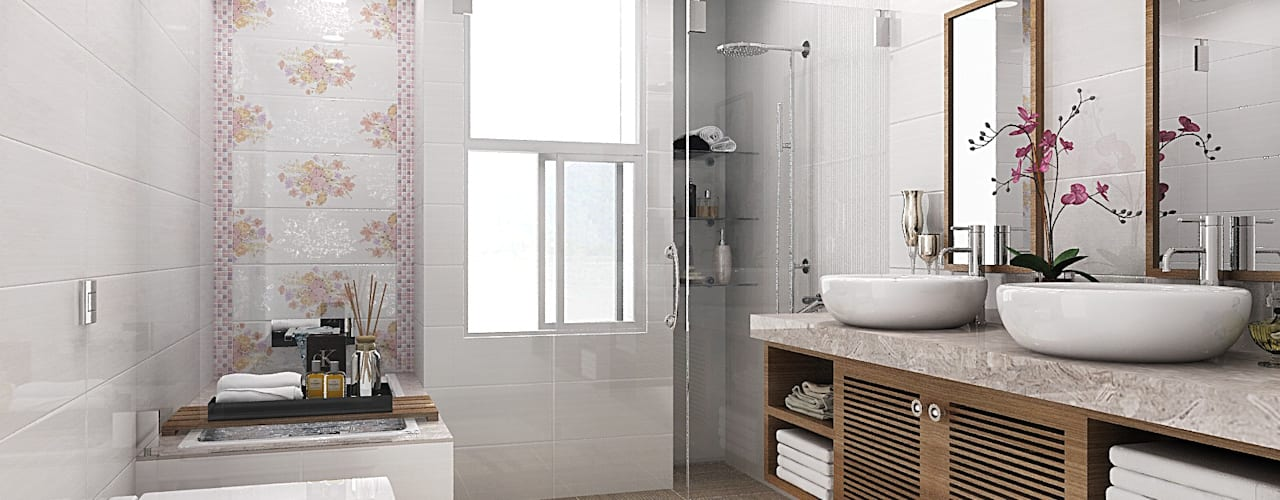 homify Country style bathroom Tiles White