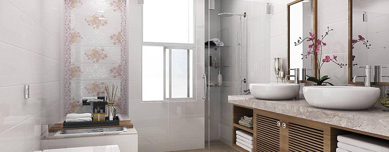 homify Phòng tắm phong cách đồng quê Gạch ốp lát White