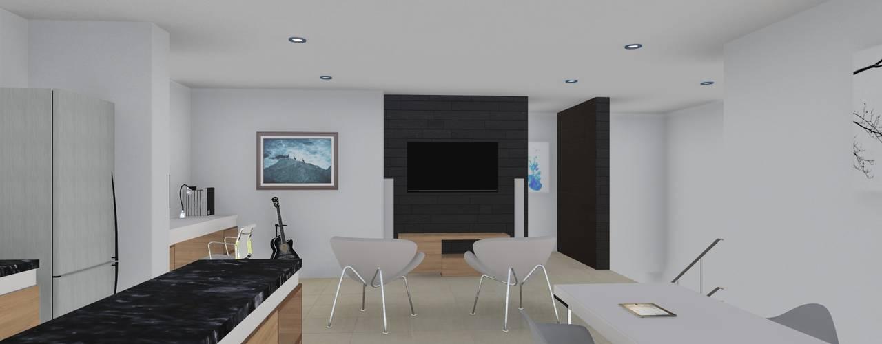 Oficinas P.B. y Vivienda P.A. Salones minimalistas de ARBOL Arquitectos Minimalista