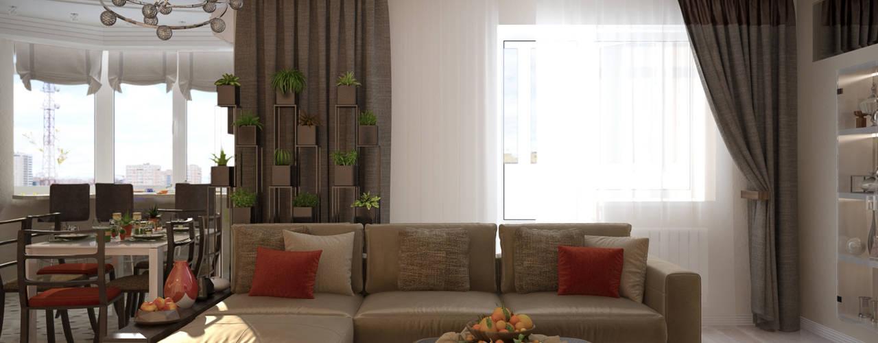 غرفة المعيشة تنفيذ Студия интерьерного дизайна happy.design,