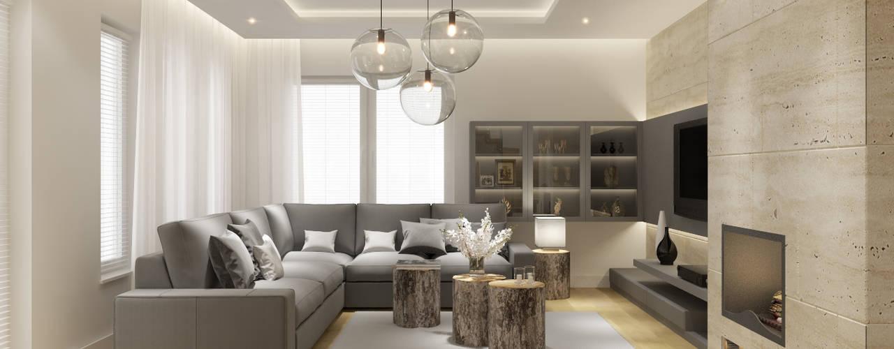 Salones de estilo moderno de PRØJEKTYW | Architektura Wnętrz & Design Moderno