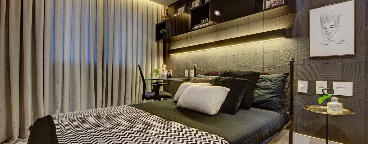 Dormitorios de estilo  por Dome arquitetura,