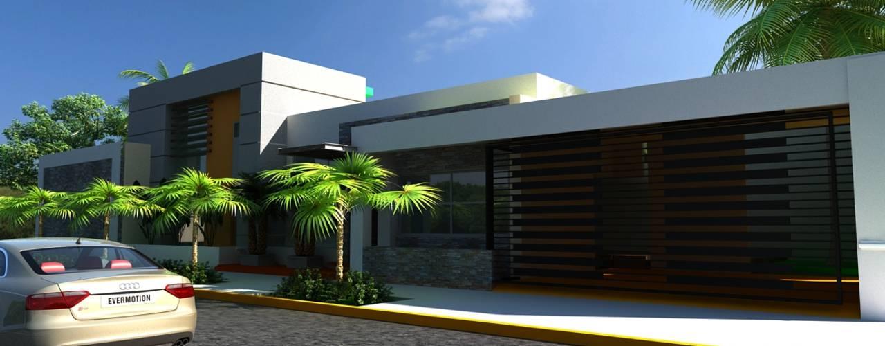 OLLIN ARQUITECTURA Modern Houses Concrete Grey