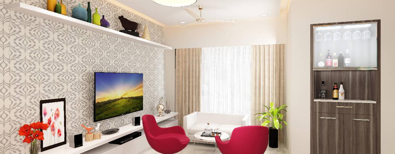 Living room lounge area:  Living room by Neelanjan Gupto Design Co