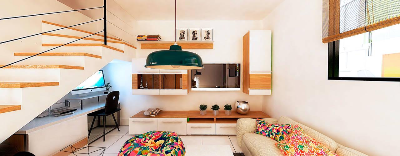 Proyecto Residencial Albores Salas modernas de Polygon Arquitectura Moderno