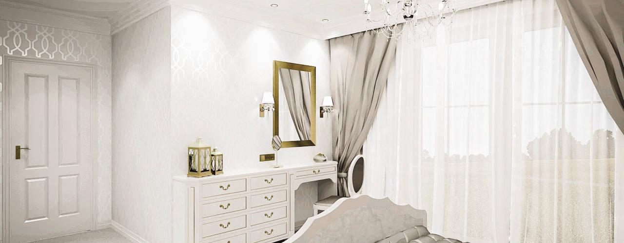 Romantyczna sypialnia - widok na toaletkę: styl , w kategorii Sypialnia zaprojektowany przez Atelier Słowiński