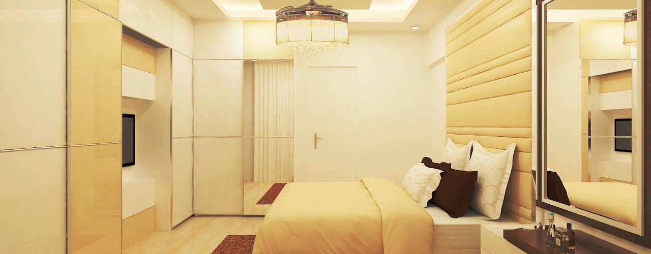 Jain Heights Apartment Interiors, Bangalore. Modern style bedroom by Kredenza Interior Studios Modern